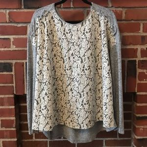 🔥Maurices Grey & Cream Lace Long Sleeve Top